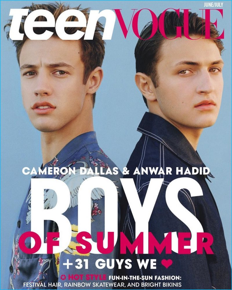 Cameron Dallas and Anwar Hadid cover the June/July 2016 issue of Teen Vogue.