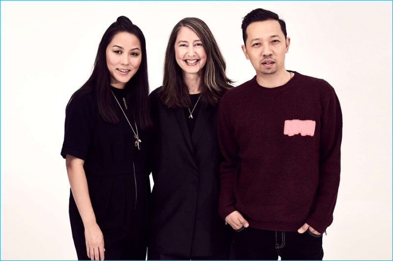 Pictured center, H&M creative advisor Ann-Sofie Johansson poses for a picture with Kenzo creative directors Carol Lim and Humberto Leon.