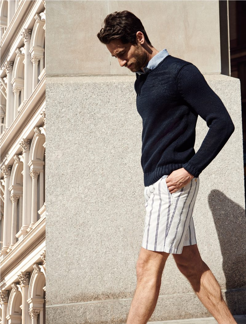 Club Monaco linen roll neck crew, cotton linen polo shirt and Maddox vertical striped shorts.