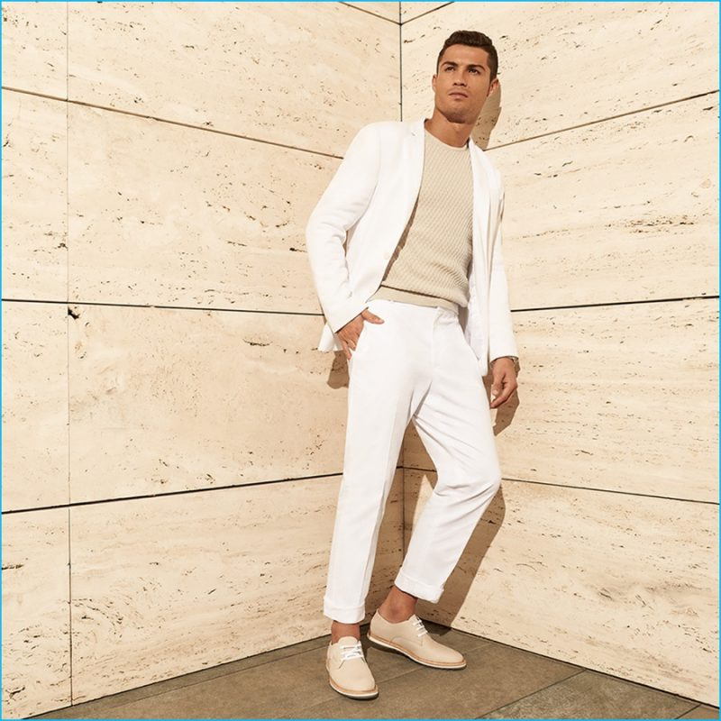 Cristiano Ronaldo embraces summer neutrals as he showcases tan shoes from CR7 Footwear.