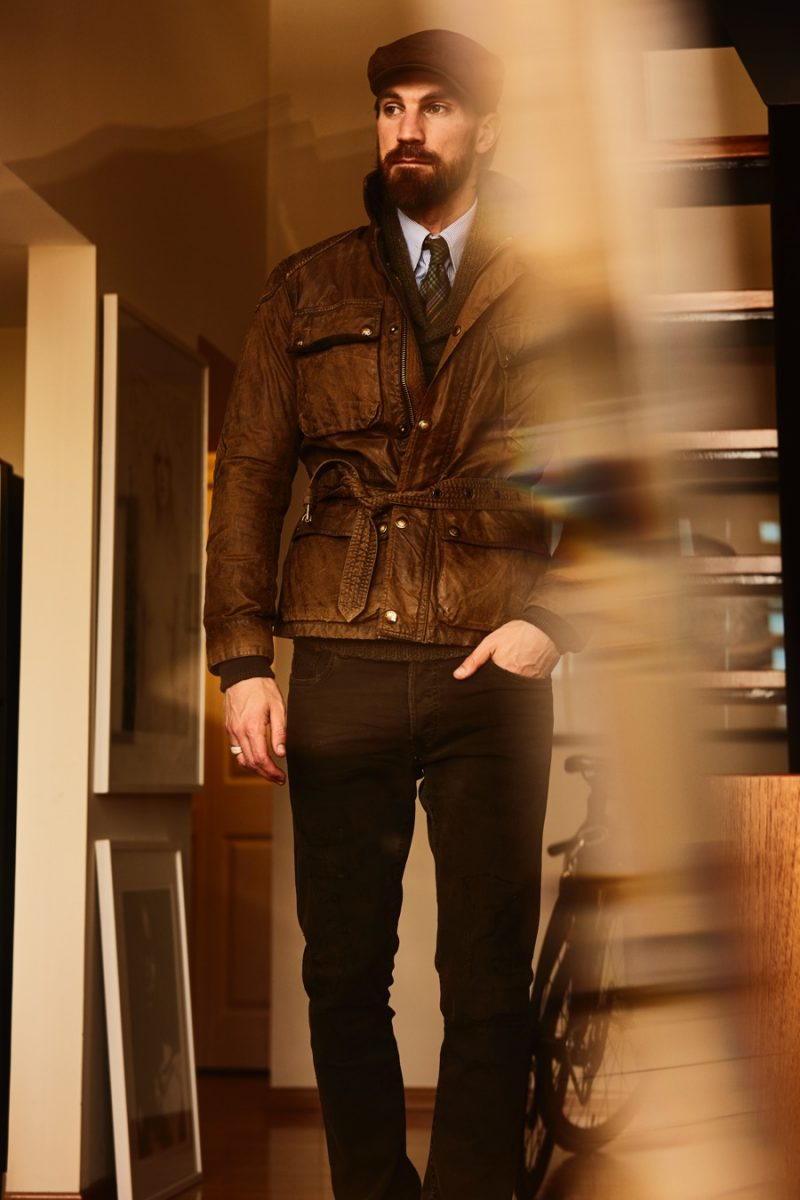 Henrik Fallenius is a stylish standout in a belted jacket and tailored fashions from Polo Ralph Lauren.