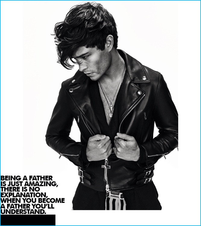 Francisco Lachowski Goes Biker for Dress to Kill Men Cover