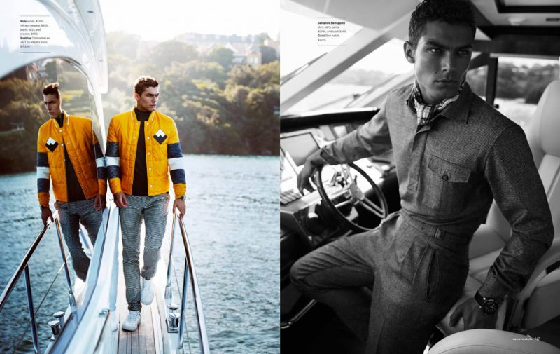 Left: Jacob Hankin has a yellow moment in a quilted Bally jacket. Right: Jacob is chic in Salvatore Ferragamo.