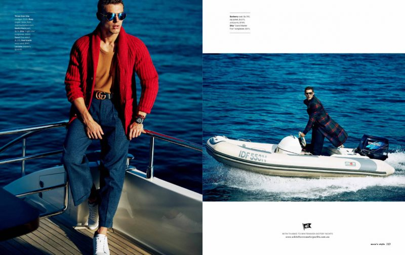 Jacob Hankin takes to the open water in Burberry, Paul Smith, Gucci, Lacoste and more.
