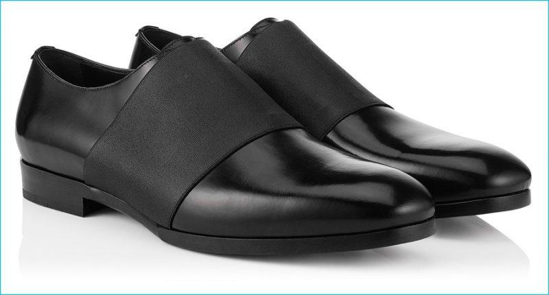 Jimmy Choo Men Peter Black Shiny Calf Elastic Formal Shoes