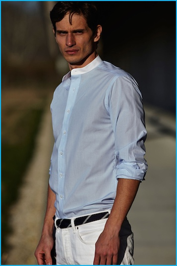 David Smith is a summer vision in Jonathan Mezibov's slim-fit banded collar checked sport shirt.