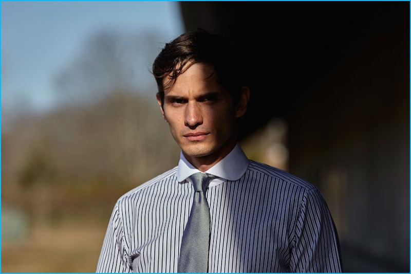 David Smith wears Jonathan Mezibov's tailored-fit Bromfield striped dress shirt.