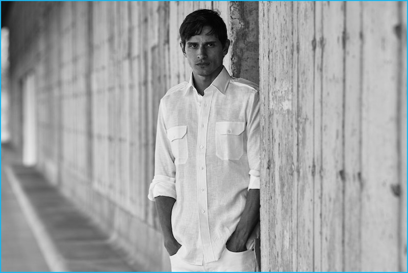 David Smith embraces summer whites in a tailored-fit linen military sport shirt from Jonathan Mezibov.