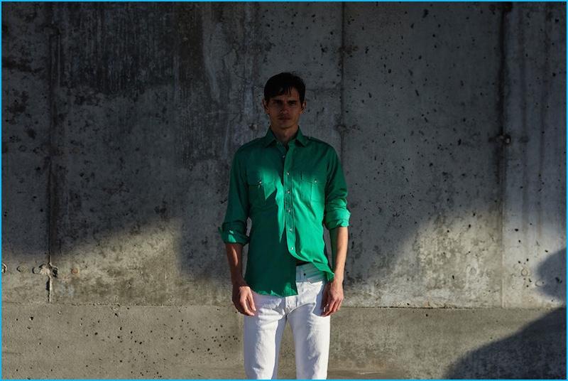 David Smith pictured in Jonathan Mezibov's green slim-fit safari sport shirt.