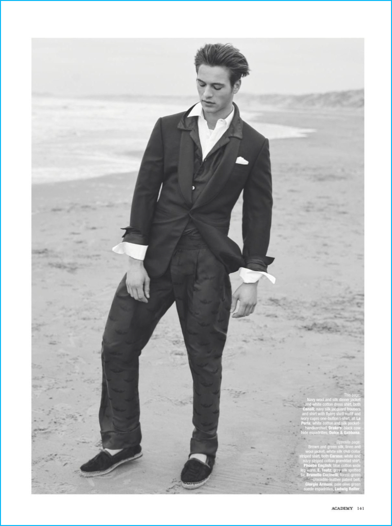 Jules Raynal dons a sharp dinner jacket from Canali with La Perla trousers.