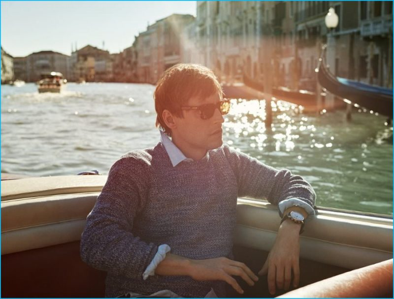 Sebastien Andrieu takes in the sights of Venice, wearing a linen sweater and choice accessories from Kingsman.