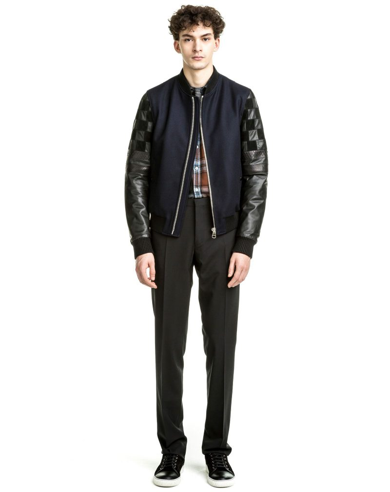 Lanvin Pre-Fall 2016 Wool and Leather Patchwork Bomber Jacket