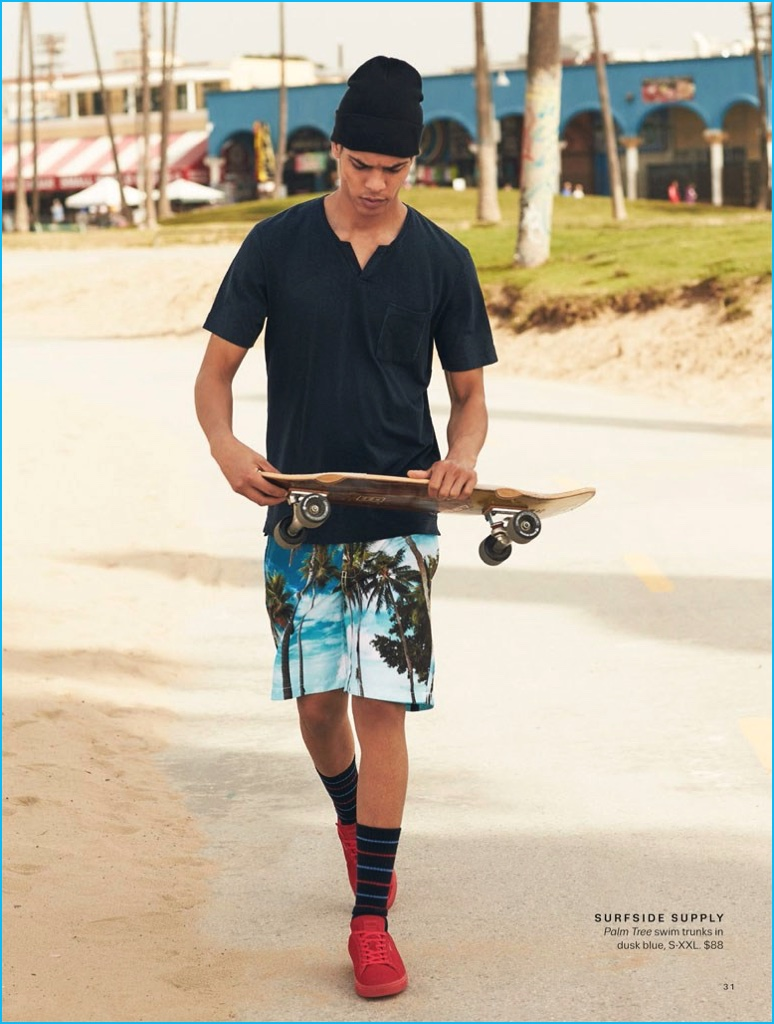 Geron McKinley Channels A Skater Ease In Surfside Supply Swim Trunks