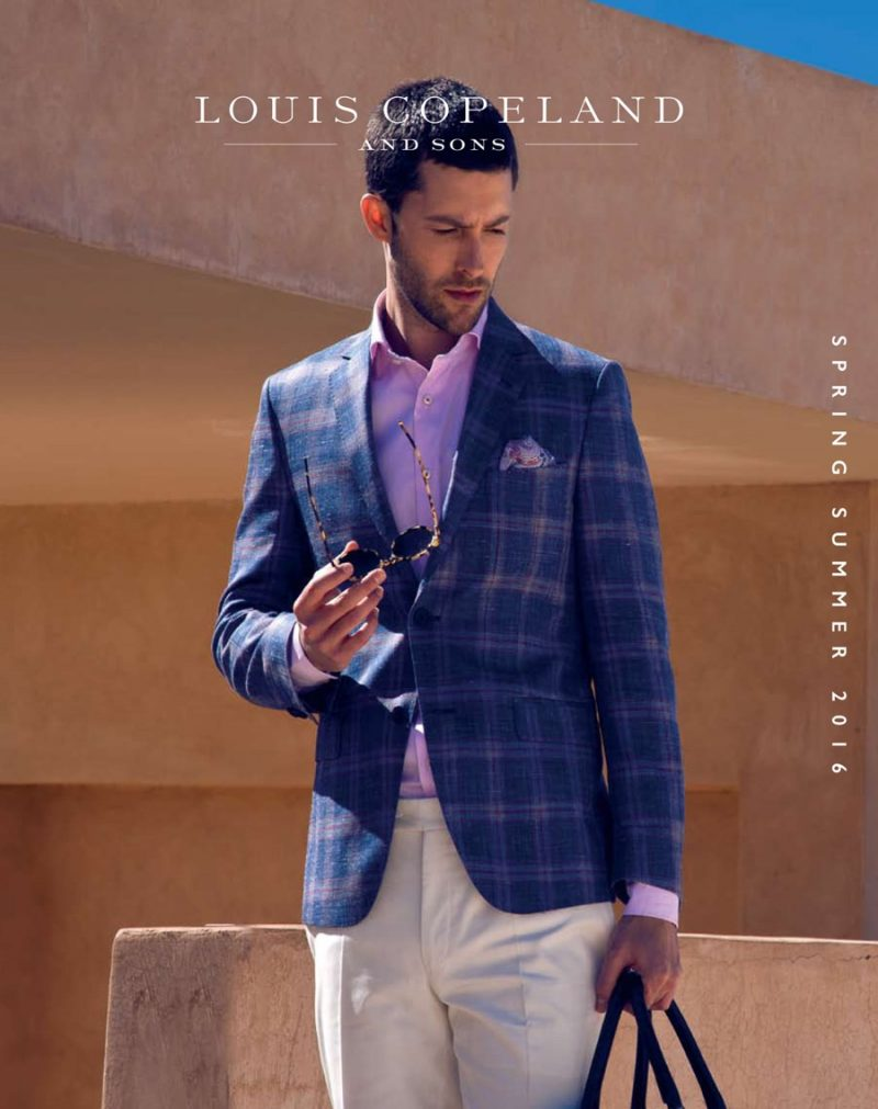 Model Richard Skinner fronts Louis Copeland's spring-summer 2016 outing.