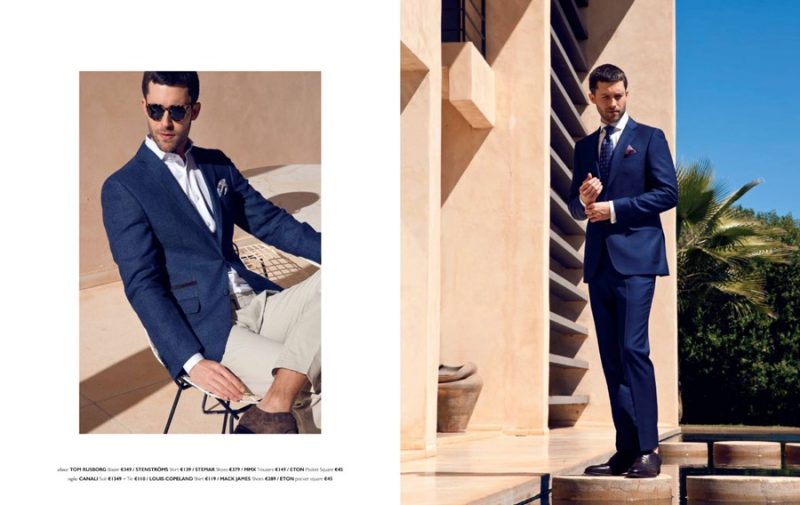 Richard Skinner dons shades of blue from Tom Rusborg and Canali.