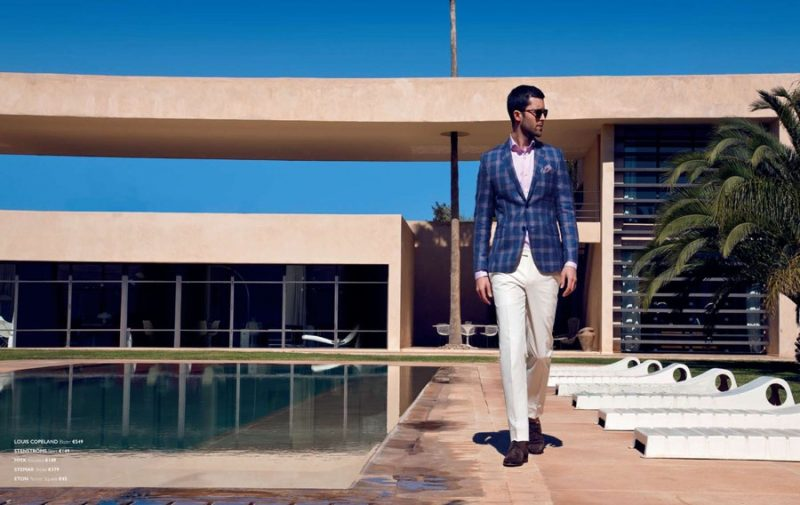Richard Skinner dons a check blazer from Louis Copeland with MMX trousers.