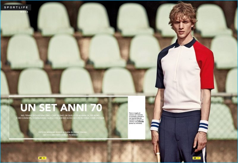 Paul Boche embraces tennis style in fashions from Lacoste.