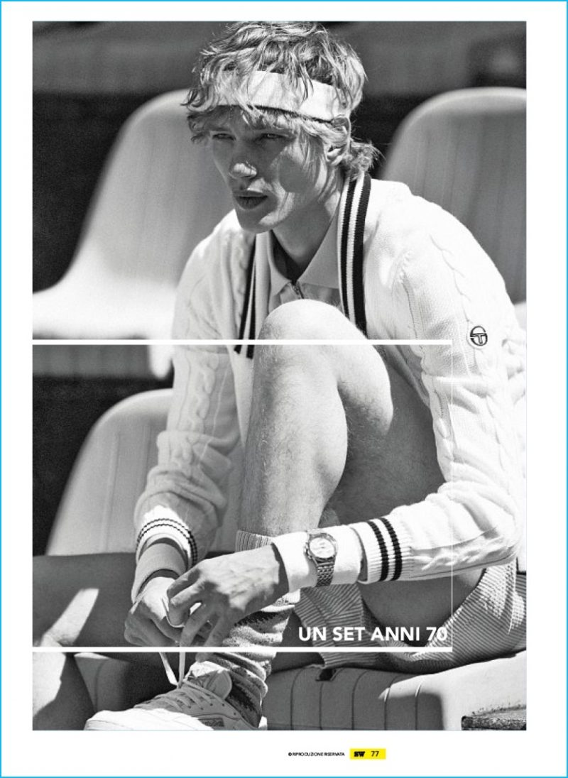 Paul Boche models fashions from Sergio Tacchini, Fred Perry, Moncler Gamme Bleu and other brands.