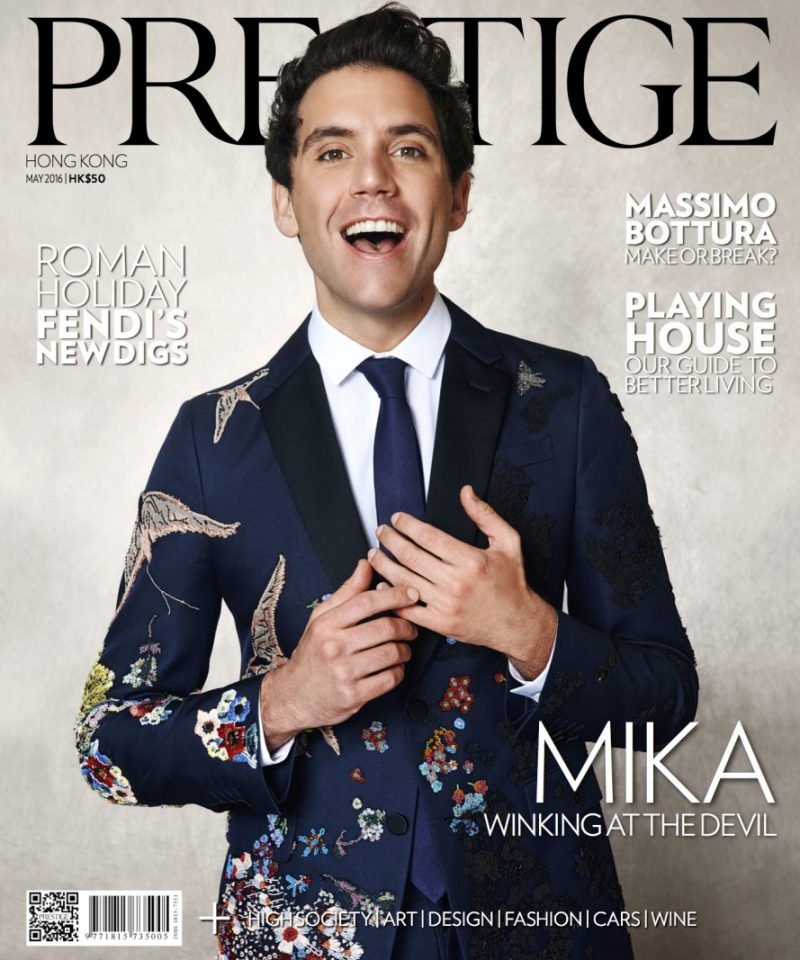 Mika covers the May 2016 issue of Prestige Hong Kong in a custom Valentino look.