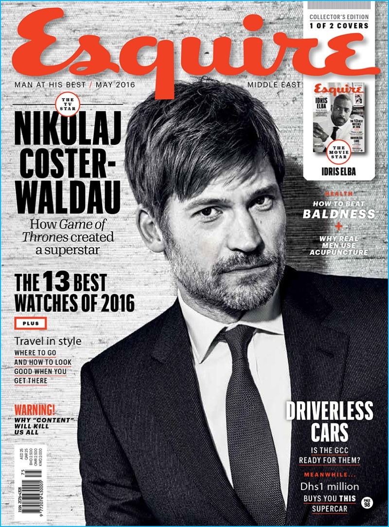 Nikolaj Coster-Waldau covers the May 2016 issue of Esquire Middle East.