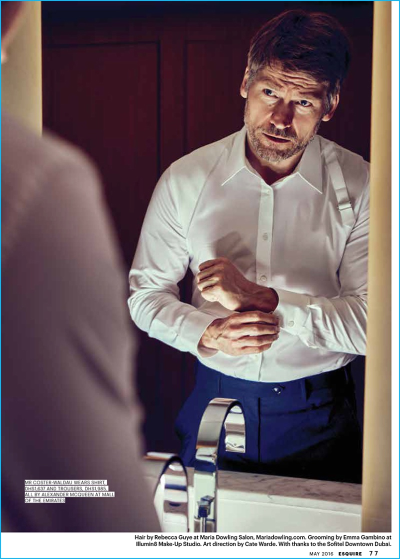 Nikolaj Coster-Waldau pictured in tailored fashions from Alexander McQueen.