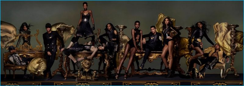 Olivier Rousteing and Cristiano Ronaldo join models in a photo for Dazed & Confused.