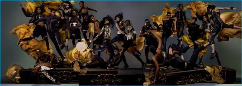 Models photographed by Nick Knight in Oliver Rousteing x NikeLab collection.