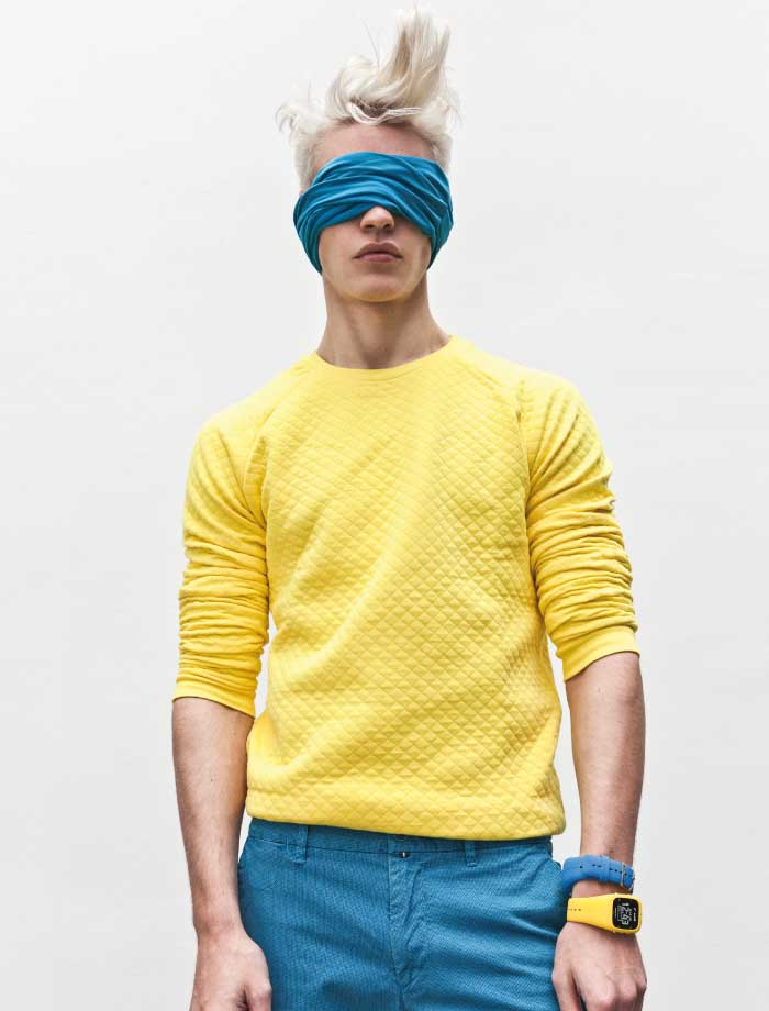 Photographed by Darius Lucaciu, Oliver Stummvoll embraces quite the wardrobe of colors.