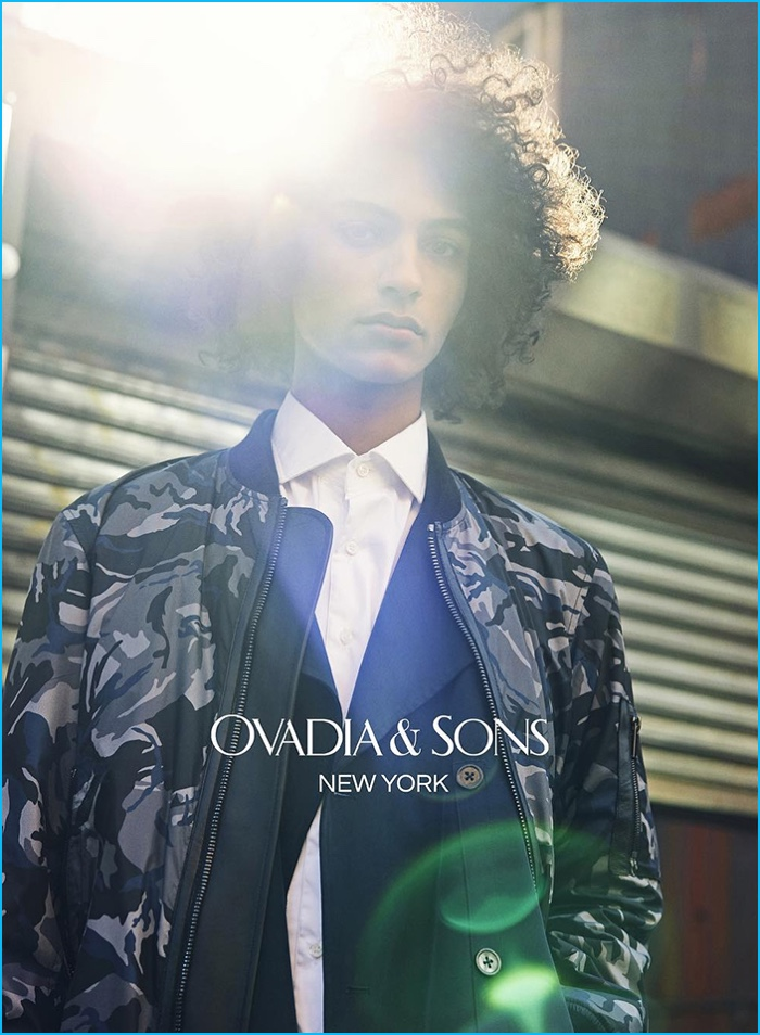 Model Tre Samuels sports a camouflage bomber jacket from Ovadia & Sons.