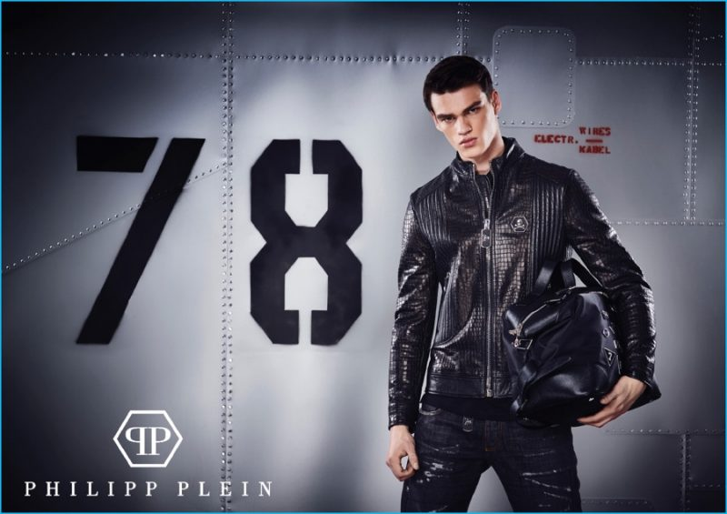 Philipp Plein wears a leather look from Philipp Plein's pre-fall 2016 collection.