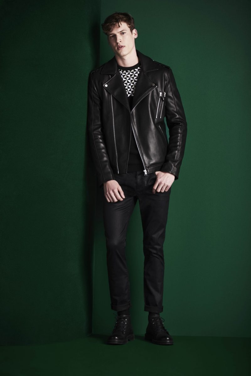The leather biker jacket is front and center for a slim black look from River Island's fall-winter 2016 collection.