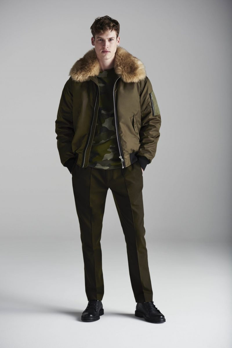 River Island has a military moment with a bomber jacket, camouflage pullover and pleated trousers in army green.