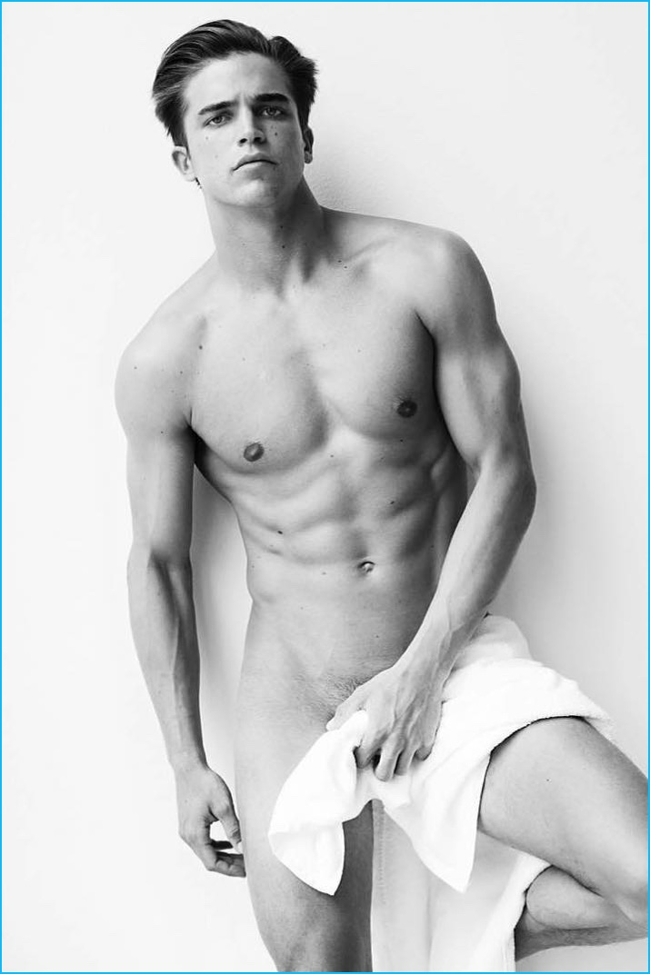 River Viiperi poses for a revealing image as part of Mario Testino's Towel Series.