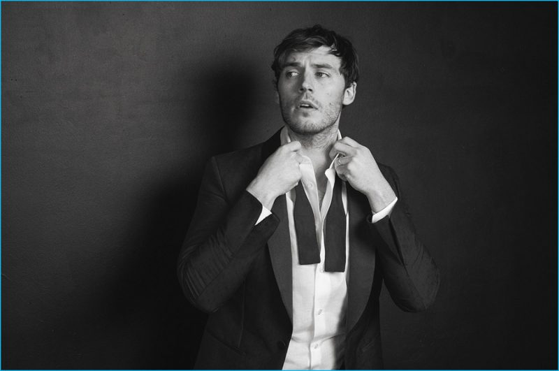 Sam Claflin styled by David Nolan in Ermenegildo Zegna for Zoo magazine.