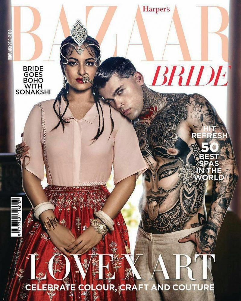 Stephen James joins actress Sonakshi Sinha for the May 2016 issue of Harper's Bazaar India.