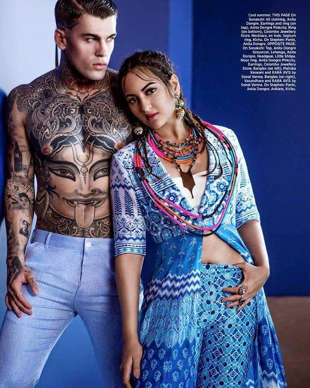 Stephen James and Sonakshi Sinha photographed for the May 2016 issue of Harper's Bazaar India.