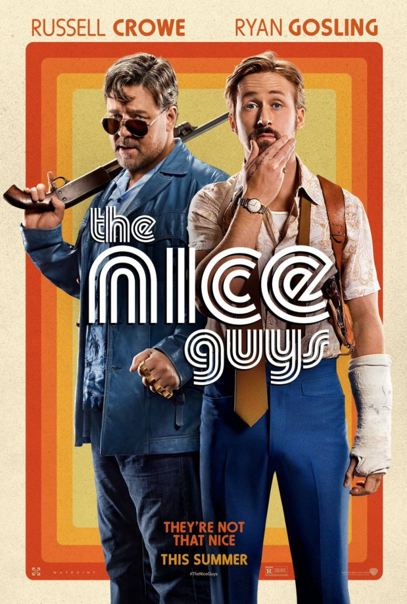 Russell Crowe and Ryan Gosling for The Nice Guys movie poster artwork.