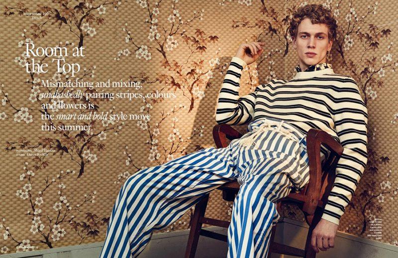 Robbi G mixes stripes from De Fursac and Comme des Garçons Shirt for Vogue Hommes Paris.