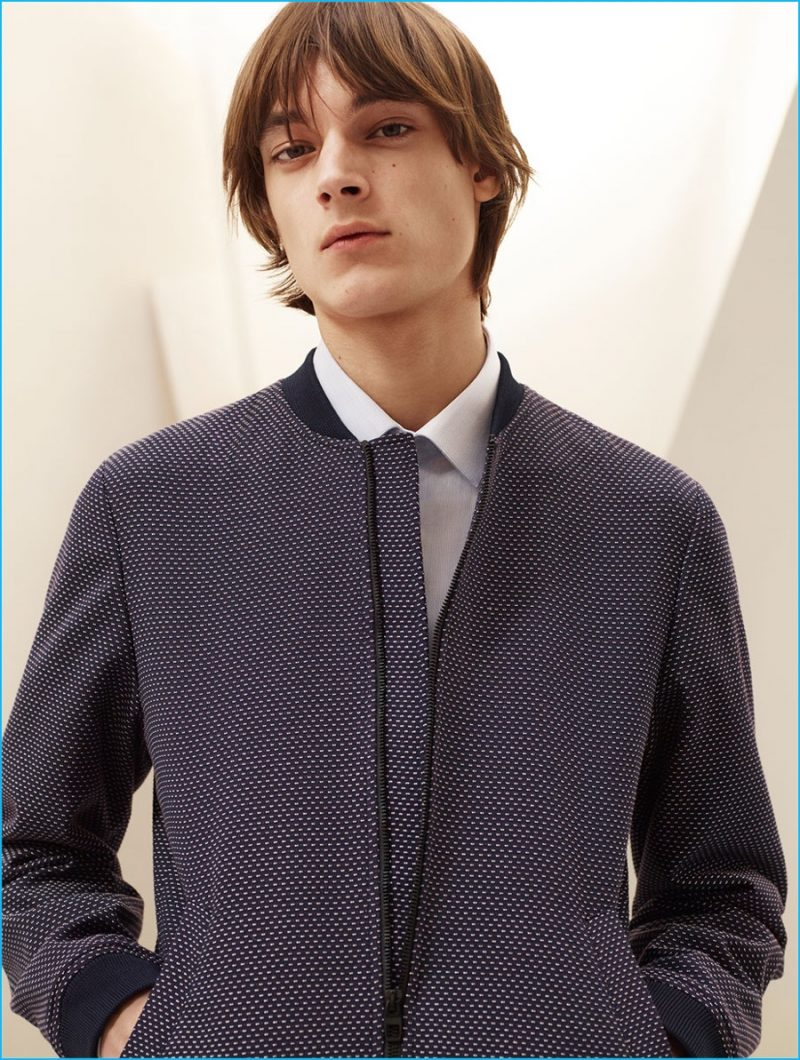 Timur Muharemovic pictured in a tailored bomber jacket and striped shirt from Zara Man.