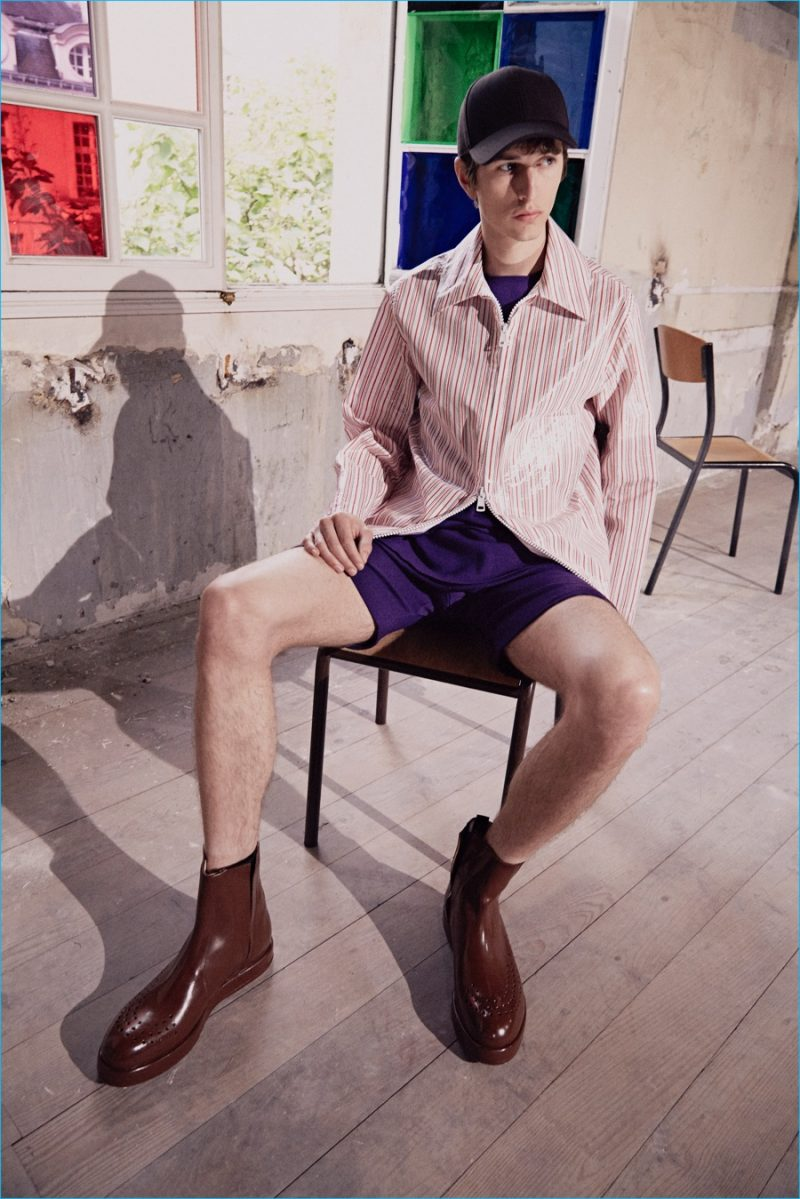 Acne Studios tackles summer style with vintage swimwear inspired shorts and easy poplin shirts.