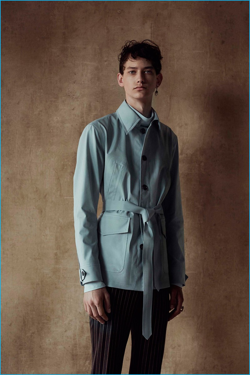 Alexander McQueen adds a soft touch to its spring-summer 2017 line with a lightweight belted jacket.