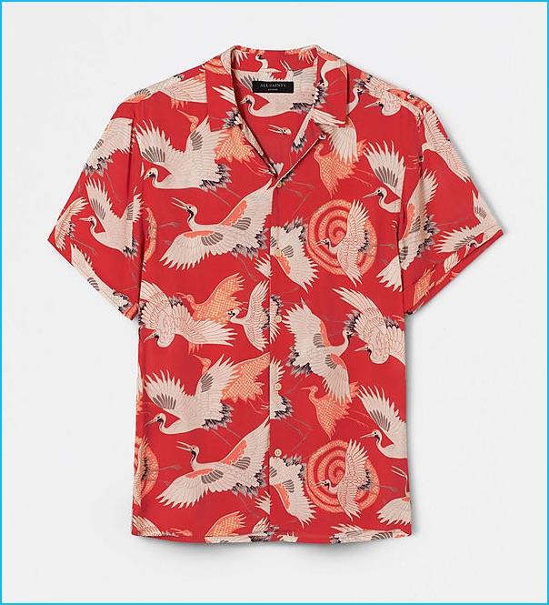 AllSaints Tsuru Red Hawaiian Shirt