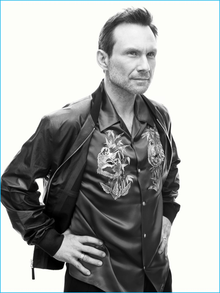 Leather jacket photoshoot - Christian Slater Goes Bold Wearing A Leather Bomber Jacket And Satin Shirt From Louis Vuitton