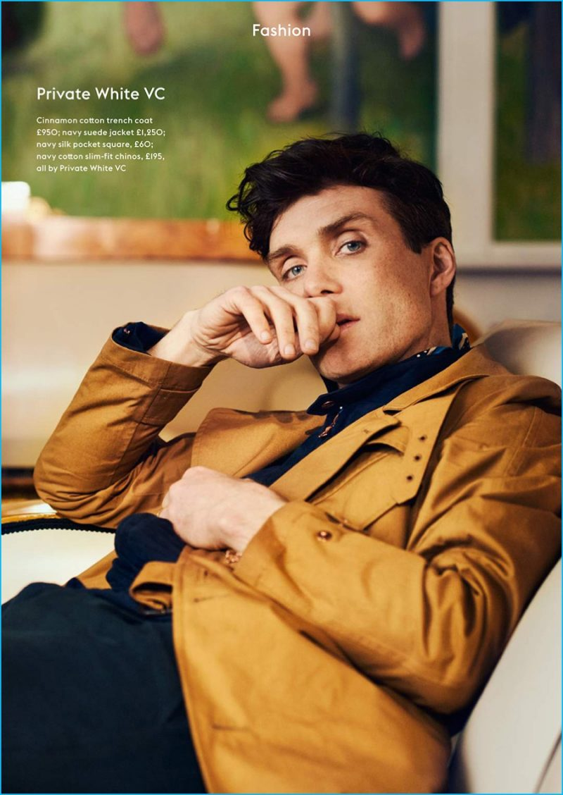 Cillian Murphy pictured in a Private White VC trench coat.