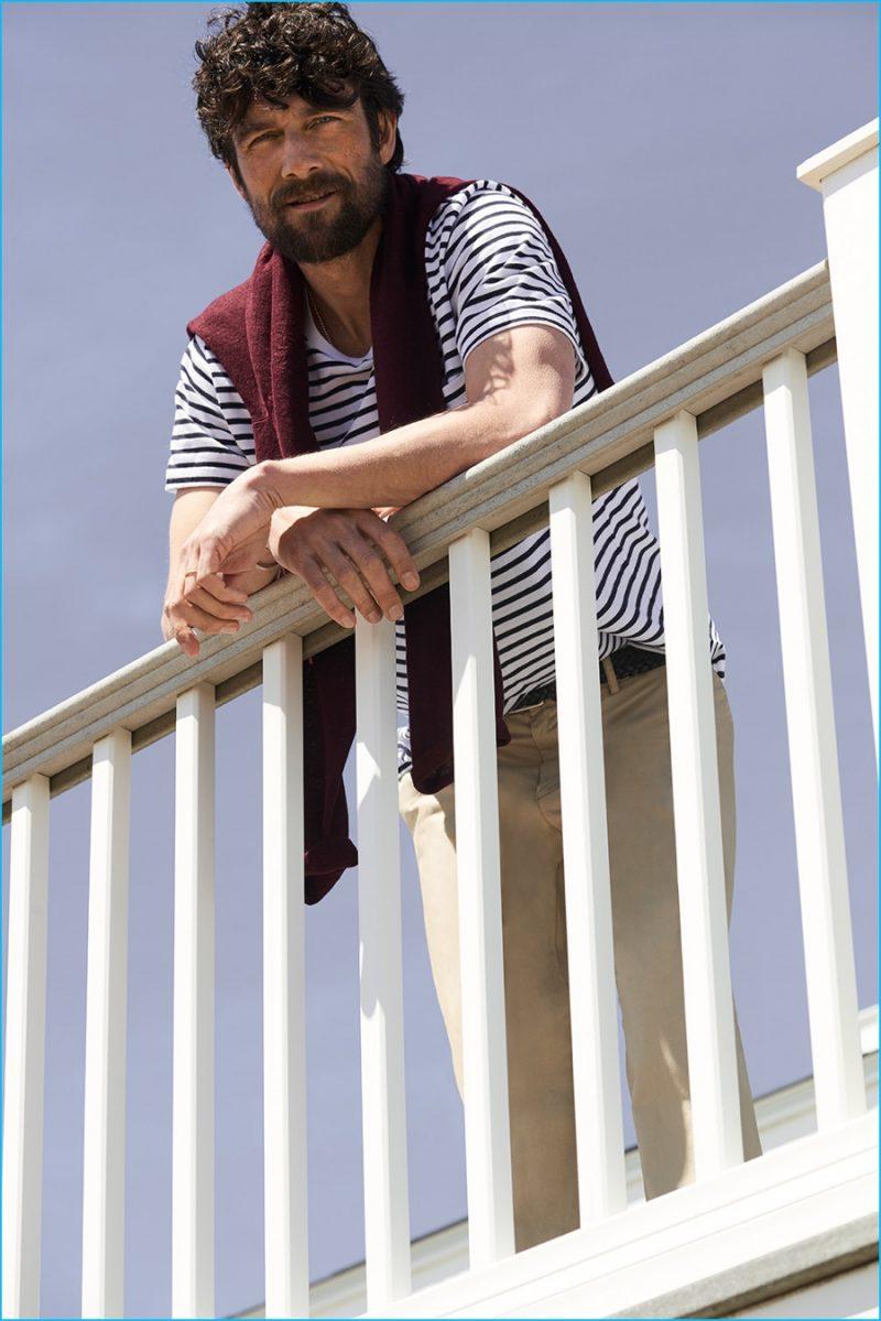 Cedric Bihr wears Club Monaco stripe tee, lightweight chinos and linen raglan crew.