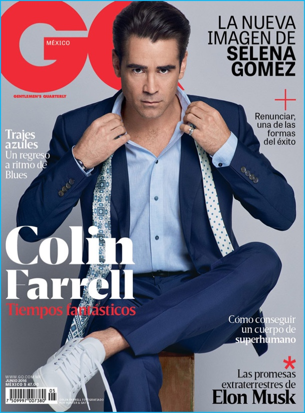Colin Farrell covers the June 2016 issue of GQ México.
