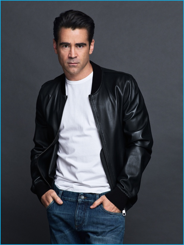 Colin Farrell rocks a leather bomber jacket for the pages of GQ México.
