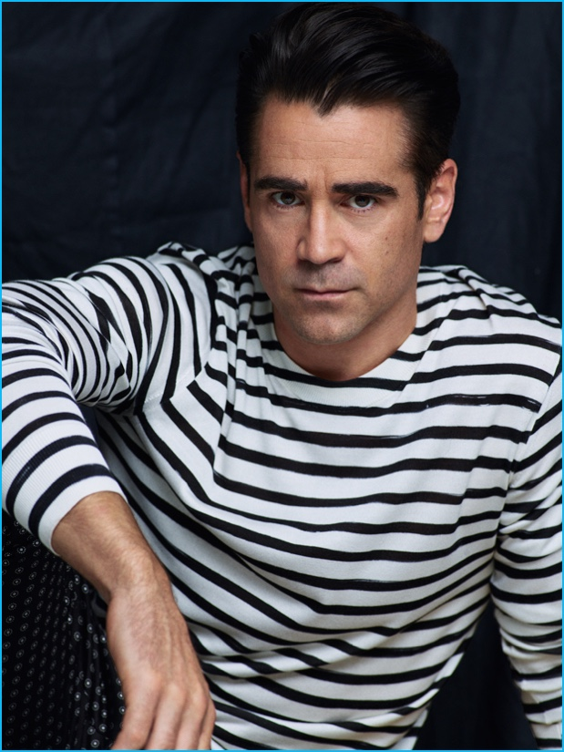 Colin Farrell embraces nautical style in a stripe boat neck tee.