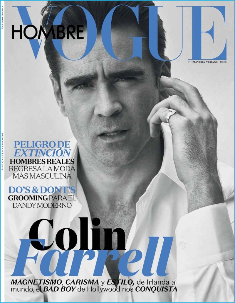 Colin Farrell captured in a black & white image for the cover of Vogue Hombre.
