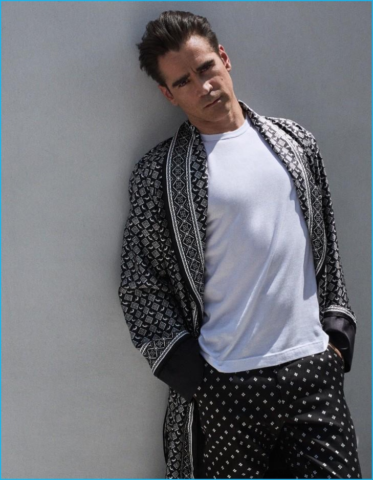 Colin Farrell sports a luxurious Dolce & Gabbana robe for the pages of Vogue Hombre.